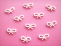 10 pcs Tiny Ribbon Bow Plastic Embellishment White