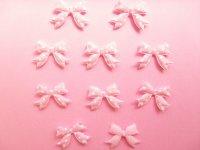 10 pcs Kawaii Cute Craft Supplies Padded Ribbon Bow Applique Polka Dots Pink