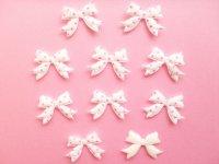 10 pcs Kawaii Cute Craft Supplies Padded Ribbon Bow Applique Polka Dots White