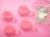 Kawaii Cute 4pcs Small Hand Mirror Cabochons Flat Back Cute Pink