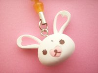 Kawaii Cute Bunny Character Mofy Keychain Strap Charm Orange Heart