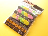 Cute Silhouette Animals Food Picks Bento Accessories Cupcake Toppers Set #03