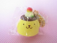 Kawaii Cute POMPOMPURIN Squishy Keychain Charm with Earphone Jack Sanrio *Standard Pudding