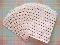12 pcs Heart Design Mini Flat Paper Bags Set *Red Heart