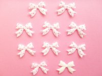 10 pcs Kawaii Cute Craft Supplies Padded Ribbon Bow Applique Polka Dots White