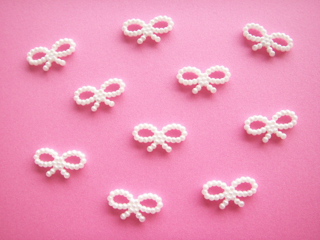 Photo1: 10 pcs Tiny Ribbon Bow Plastic Embellishment White