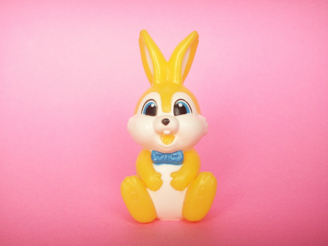 Photo1: Kawaii Bunny Mini Rubber Doll Toy Yellow Novelty