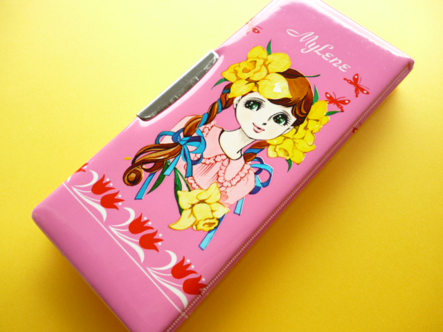 Photo1: Japanese Vintage Kawaii Cute Girl Mylene Magnetic Lock Pen/Pencil Case Box with Key *Pink