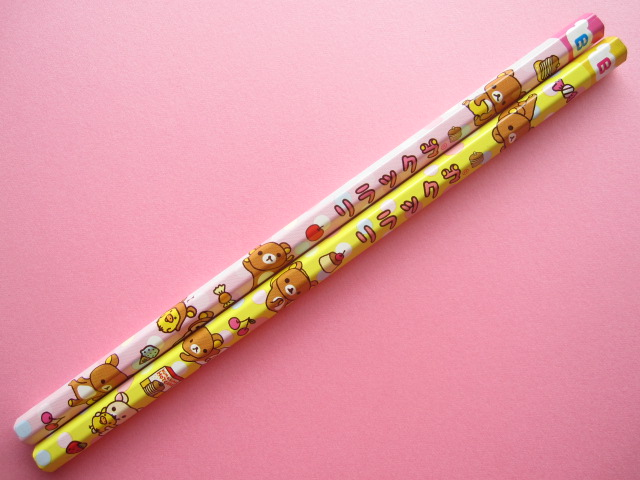 Photo1: 2 pcs Kawaii Cute Wooden Pencils Set Rilakkuma Pink & Yellow San-x