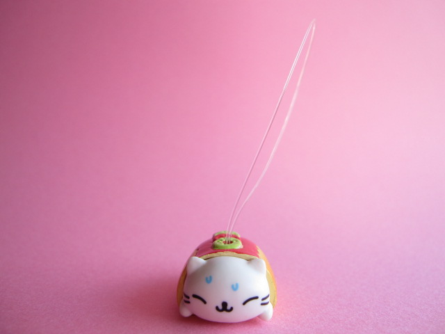 Photo1: Kawaii Cute Nyan Nyan Nyanko Burger Strap San-x *Hotdog