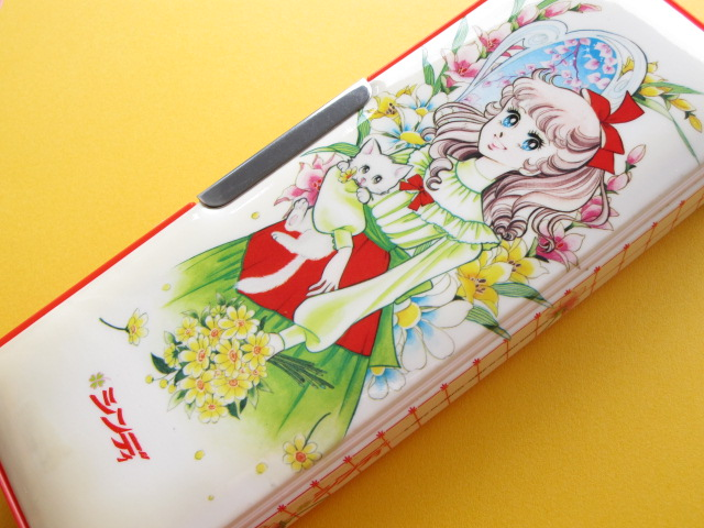 Photo1: Japanese Vintage Cute Girl Magnetic Pen/Pencil Case Box 1970s *Cindy