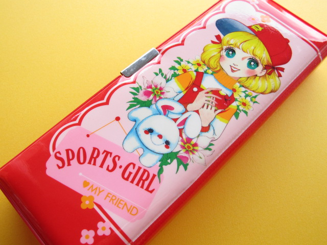 Photo1: Japanese Vintage Magnetic Pen/Pencil Case Box Red 1970s *Sports Girl