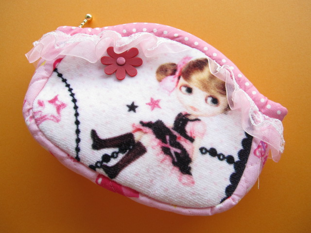 Photo1: Cute Japanese Handmade Cosmetic Pouch/Purse/Case Pink *Blythe