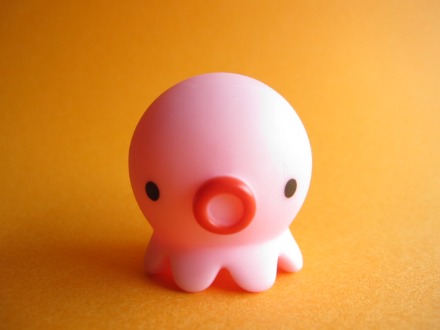 Photo1: Octopus Takochu Plastic Mini Figure Toy *Light Pink
