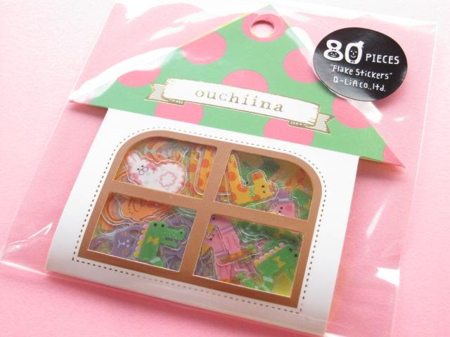 Photo1: Cute Sticker Flakes Sack ouchiina Q-LiA *Animal Numbers (81196)