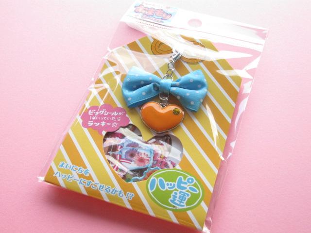 Photo1: Kawaii Cute Omamori Seal Sticker Flakes Sack with Charm Mind Wave *Good Fortune (75567)