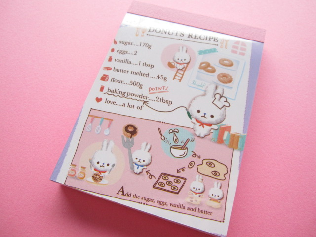 Photo1: Kawaii Cute Mini Memo Pad Q-LiA *DONUTS RECIPE (80435)