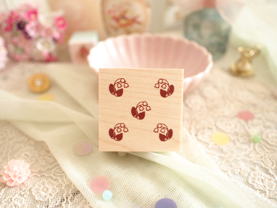 Photo1: Lilly of the valley Pattern Wood Mounted Rubber Stamp From Cui