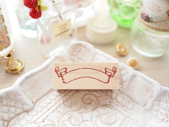 Photo1: Banner Wood Mounted Rubber Stamp From Cui