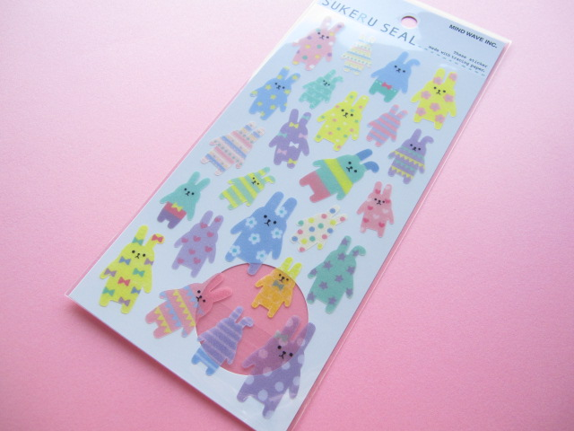 Photo1: SUKERU SEAL (Transparent) Sticker Sheet Mind Wave *Bunny (76121)