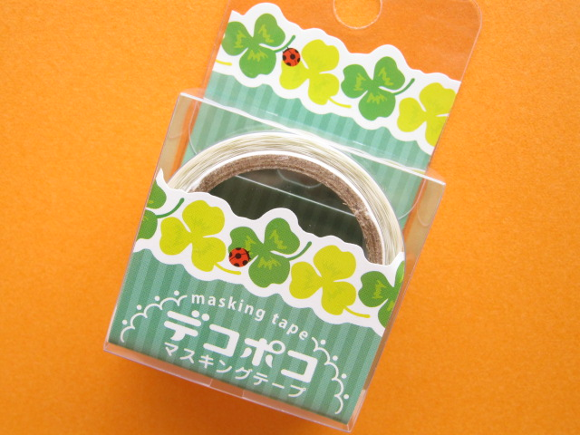 Photo1: Mini Masking Tape/Deco Tape Sticker DECOPOKO *Clover (MDT02-13)