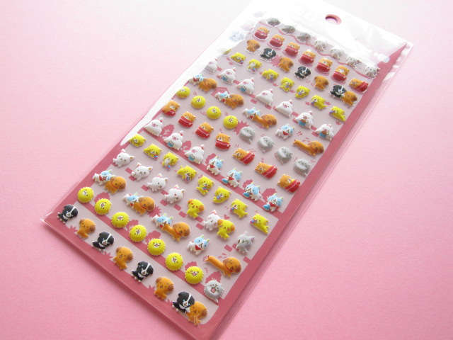 Photo1: Kawaii Cute Puffy Stickers Sheet Crux *chima chima friends (05008)