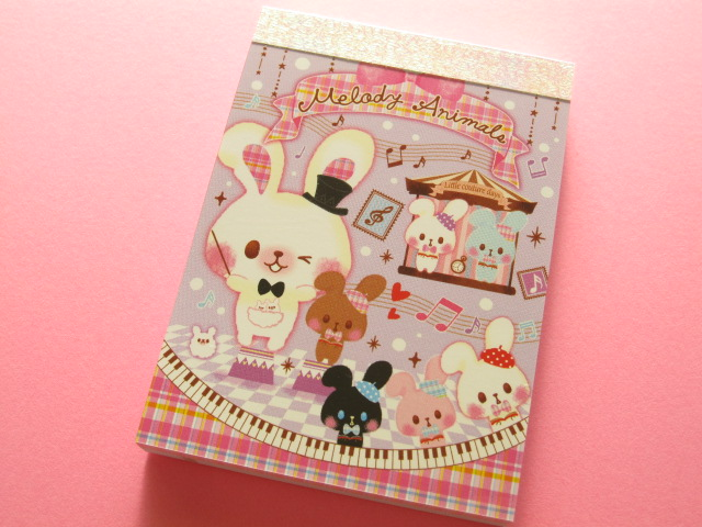 Photo1: Kawaii Cute Mini Memo Pad Crux *Melody Animals (01919)