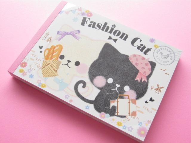 Photo1: Kawaii Cute Large Memo Pad Crux *Fashion Cat (01821)