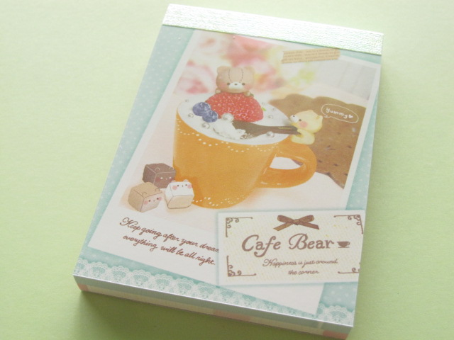 Photo1: Kawaii Cute Mini Memo Pad Crux *Cafe Bear (01857)