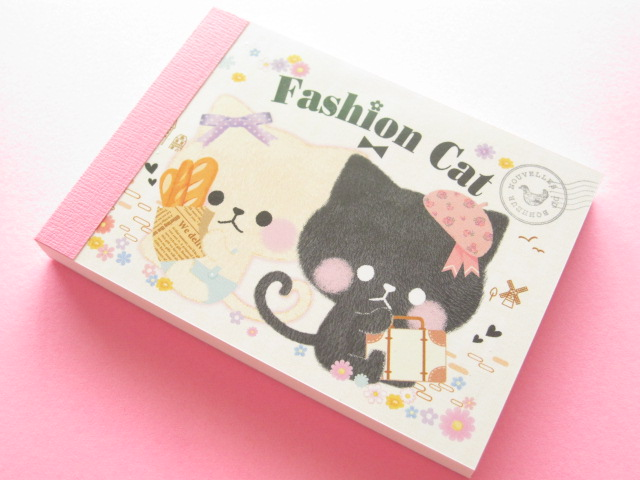 Photo1: Kawaii Cute Mini Memo Pad Crux *Fashion Cat (28699)