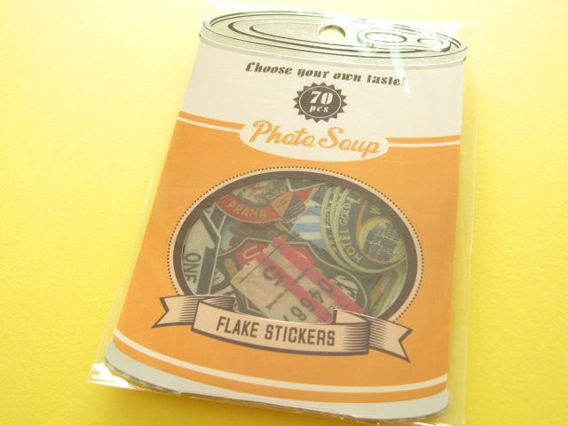 Photo1: Antique Sticker Flakes Sack Photo Soup Q-LiA *Vintage Label (91164)