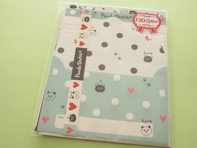 Photo1: Kawaii Cute Letter Set Crux *Panda Sketch (01867)