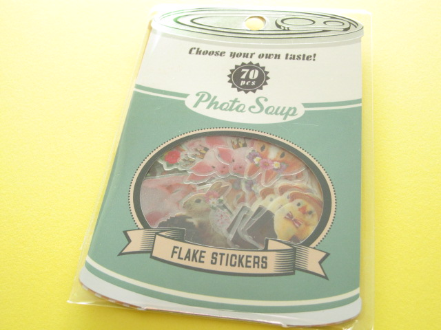 Photo1: Antique Sticker Flakes Sack Photo Soup Q-LiA *Animal Forest (91168)