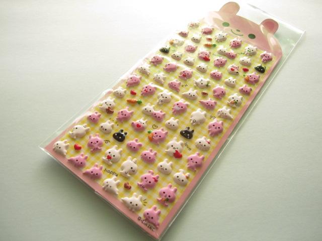 Photo1: Kawaii Cute Puffy Sticker Sheet Q-LiA *Rabbit (91104)
