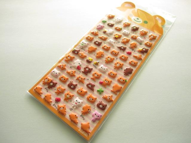 Photo1: Kawaii Cute Puffy Sticker Sheet Q-LiA *Bear (91103)