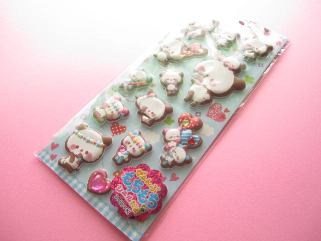 Photo1: Kawaii Cute Puffy Stickers Sheet Crux *もじもじぱんだ (05150)