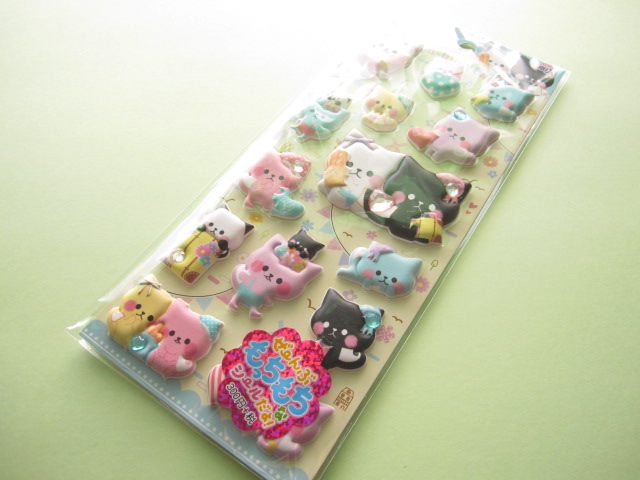 Photo1: Kawaii Cute Puffy Stickers Sheet Crux *Fashion Cat (05149)