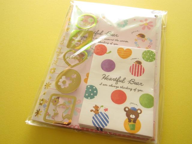 Photo1: Kawaii Cute Mini Letter Set Crux *Heartful Bear (01904)