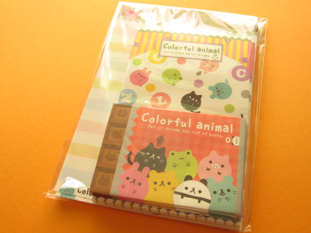 Photo1: Kawaii Cute Mini Letter Set Kamio *Colorful animal (03257)