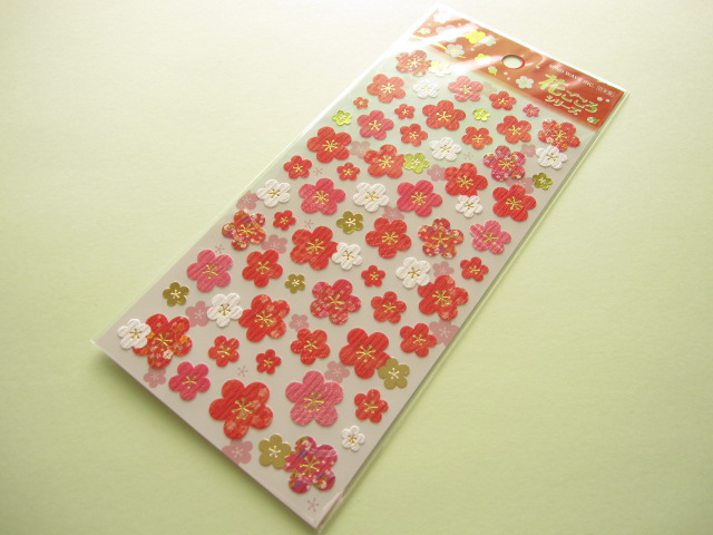 Photo1: Beautiful Ume Blossom Flowers Sticker Sheet Mind Wave (76480)