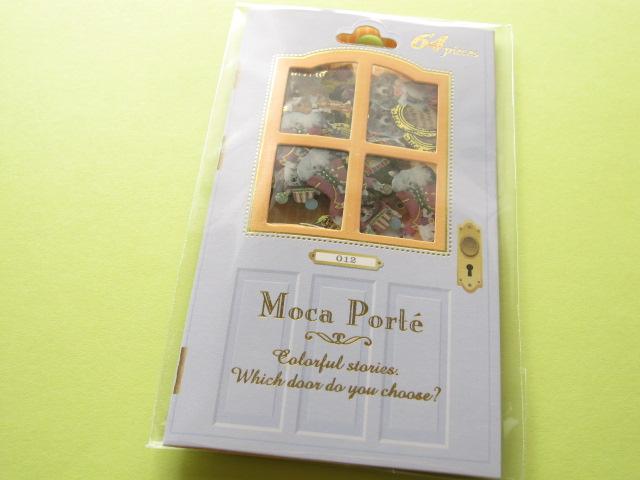 Photo1: Antique Sticker Flakes Sack Moca Porte Q-LiA *Circusl (91386)