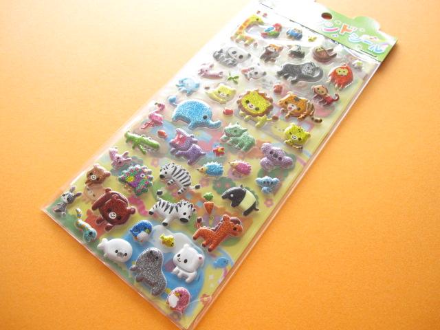 Photo1: Kawaii Cute 2 Sticker Sheets Set Animal Land Seal Q-ia *Safari Land (91406)