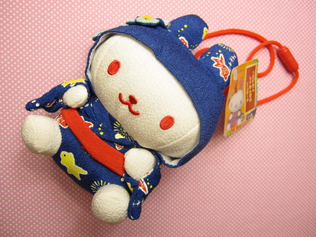 Photo1: Kawaii Cute Mini  Pouch Usazukin Japanese Chirimen Kimono with Strap