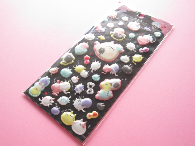 Photo1: Kawaii Cute Puffy Sticker Sheet Q-LiA *Choco Maca (91412)