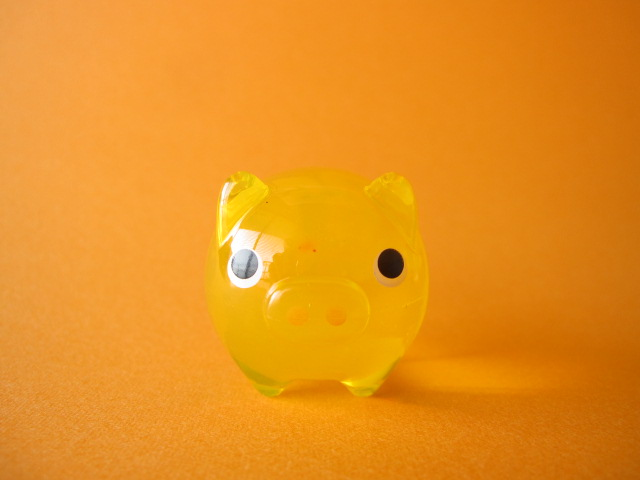 Photo1: Cute Butachu Mini Piggy Acrylic Mascot Toy *Yellow