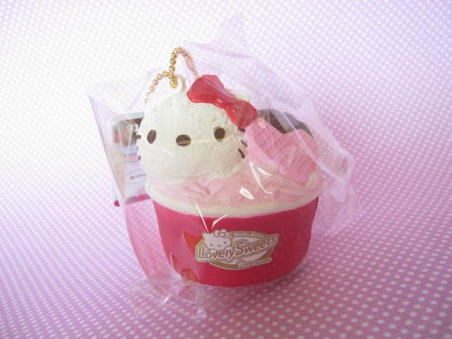 Photo1: Kawaii Cute Hello Kitty Lovely Sweets Squishy Keychain Charm Sanrio *Ice Cream Cup Vanilla