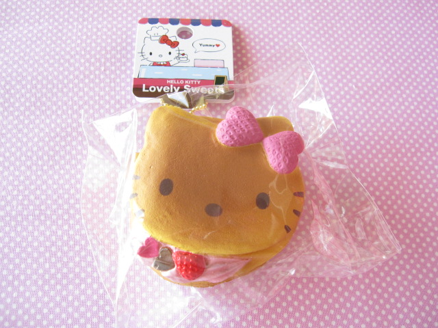 Photo1: Kawaii Cute Hello Kitty Lovely Sweets Squishy Keychain Charm Sanrio *Pancake Strawberry Cream