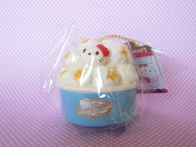 Photo1: Kawaii Cute Hello Kitty Lovely Sweets Squishy Keychain Charm Sanrio *Popcorn Salt