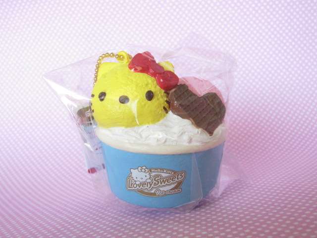 Photo1: Kawaii Cute Hello Kitty Lovely Sweets Squishy Keychain Charm Sanrio *Ice Cream Cup Lemon