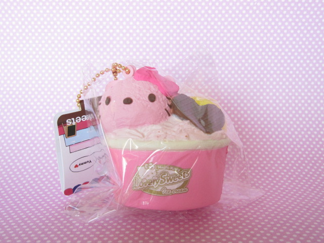 Photo1: Kawaii Cute Hello Kitty Lovely Sweets Squishy Keychain Charm Sanrio *Ice Cream Cup Strawberry